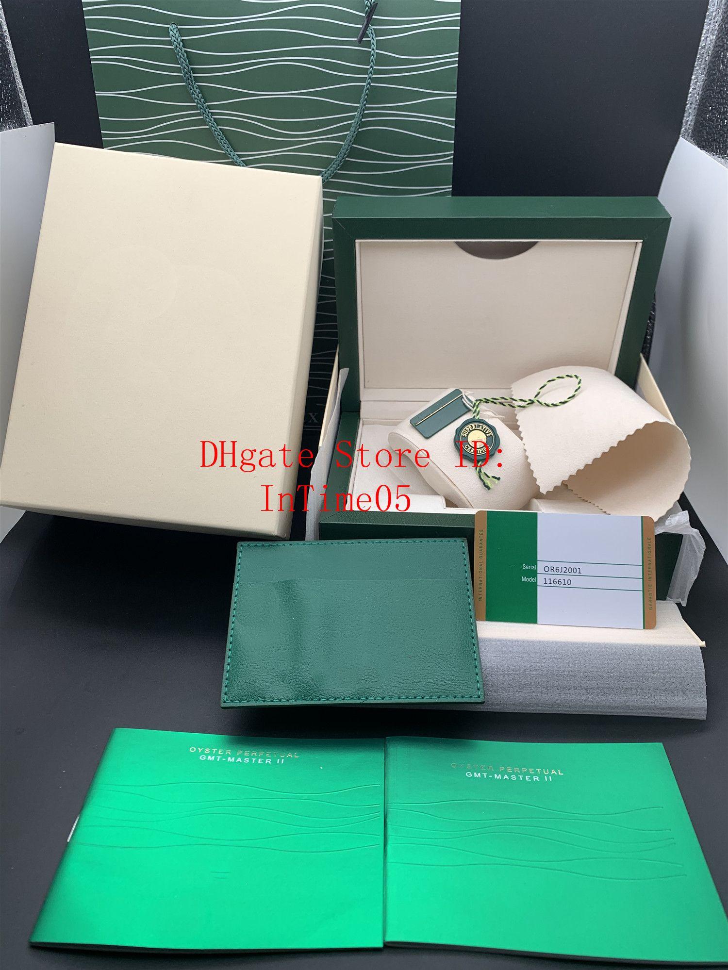 En Yeni Stil Ücretsiz Kargo Yeşil İzle Orjinal Kutusu Kağıtlar Kart Çanta Hediye Ahşap Kutular Çanta 116610 116660 116710 Saat Kılıf için