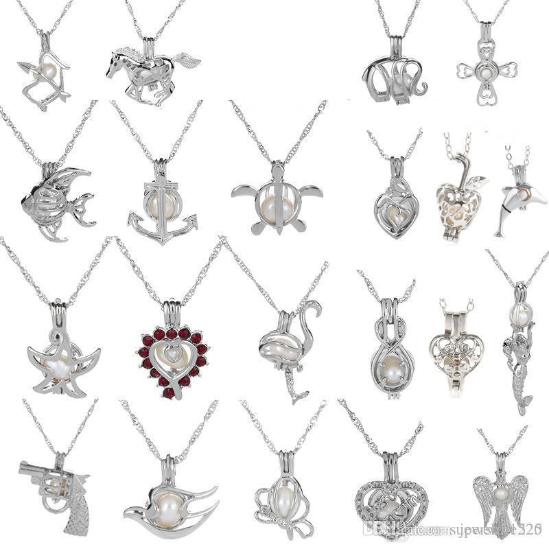 18kgp Fashion love wish pearl/ gem beads locket cages Pendants, DIY Pearl Necklace charm pendants mountings 50pcs