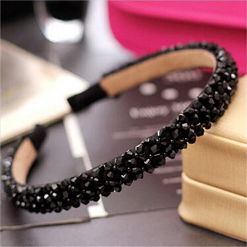 Paillettes noir fixe solide Hoop parti cheveux arc femmes de strass bandeau Cristal Perles Bandeau Bande de cheveux haar accessoires