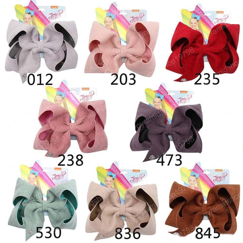 7 « » arcs Jojo Jojo / Siwa Grand hairbows pour les filles Barrettes main solide Corduroy velours cheveux Party Pin Enfants Accessoires cheveux