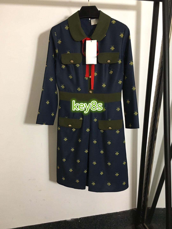 하이 엔드 여성 여자 드레스 긴 소매 옷깃 목 더블 컬러 작은 꿀벌 자수 프린트 패션 여성의 A 라인 드레스를 브레스트