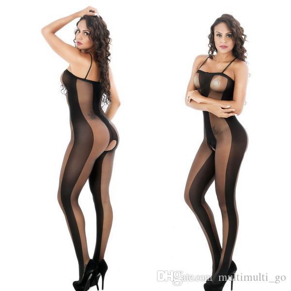 6013 النساء السود مثير انظر من خلال الملابس الداخلية الجسم جوارب الملابس الداخلية جوارب طويلة