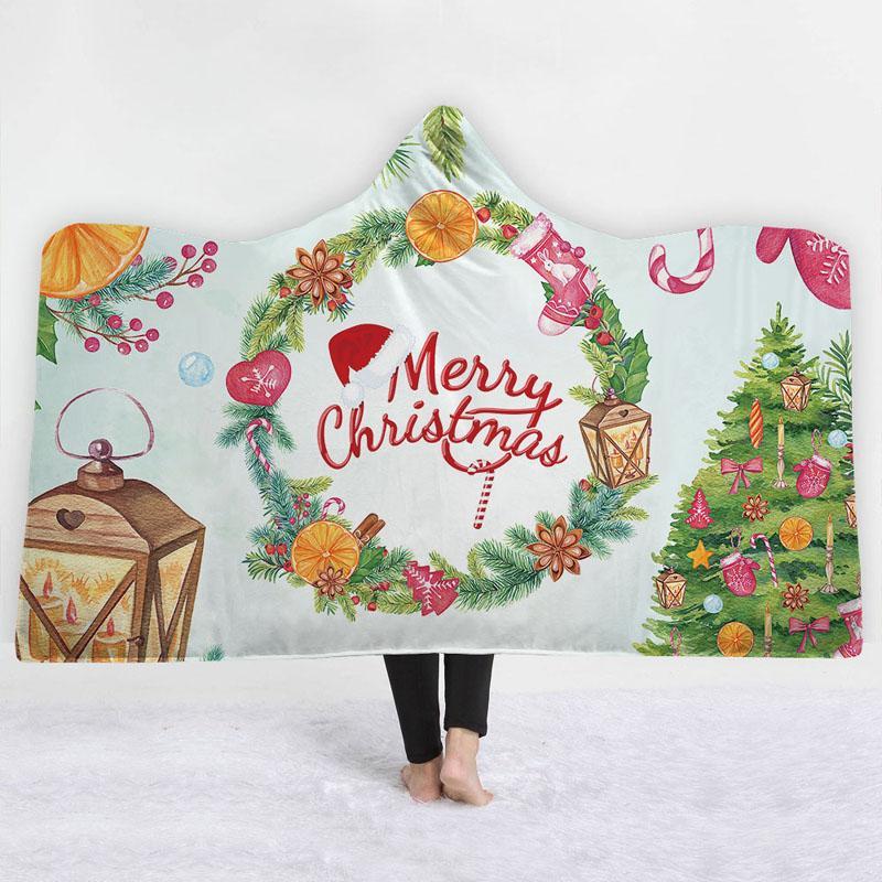 Feliz Natal com capuz Cobertores Elk Sherpa capuz Blanket lançar cobertor crianças Adultos Inverno Plush Cabo Home Textiles
