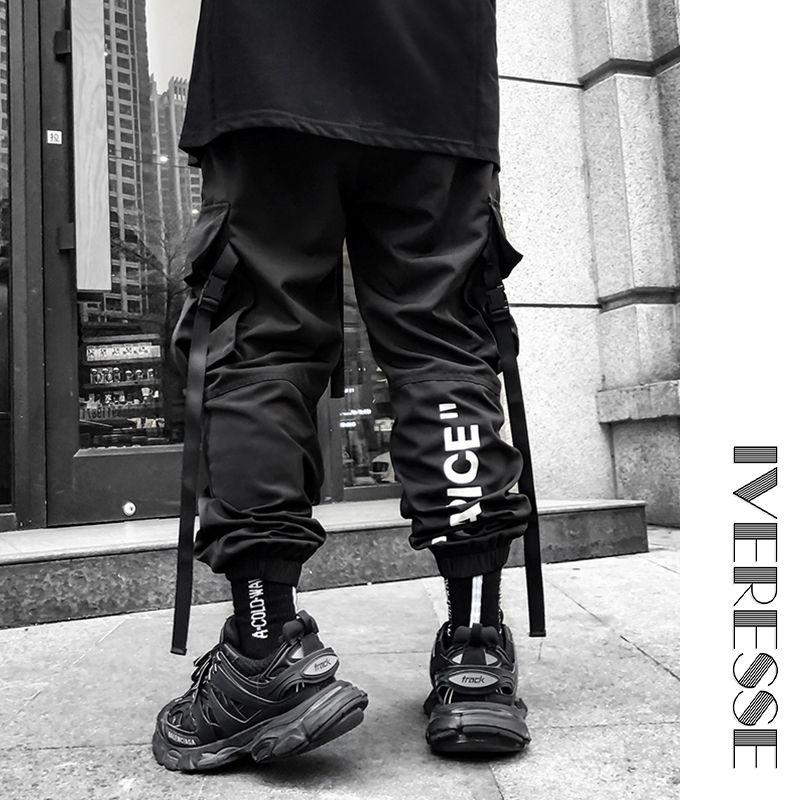 Lettera nastri neri di Hip Hop jogging Cargo Pants For Men Casual Pocket Pantaloni sportivi Pantaloni maschili Tactics Sweatpants Streetwear