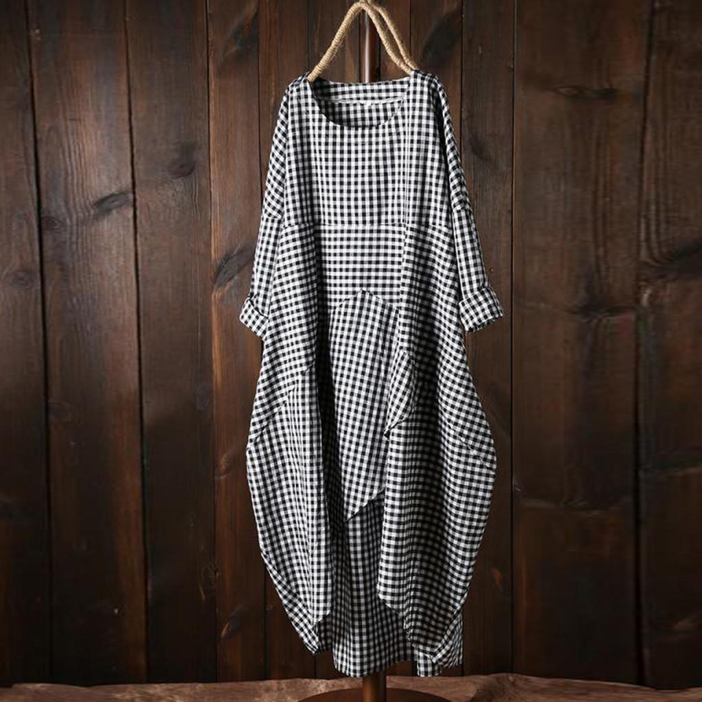 여름 드레스 패션 여성 플러스 사이즈 느슨한 전체 소매 격자 무늬 롱 드레스 2,019 캐주얼 격자면과 리넨 쉬운 맥시 드레스