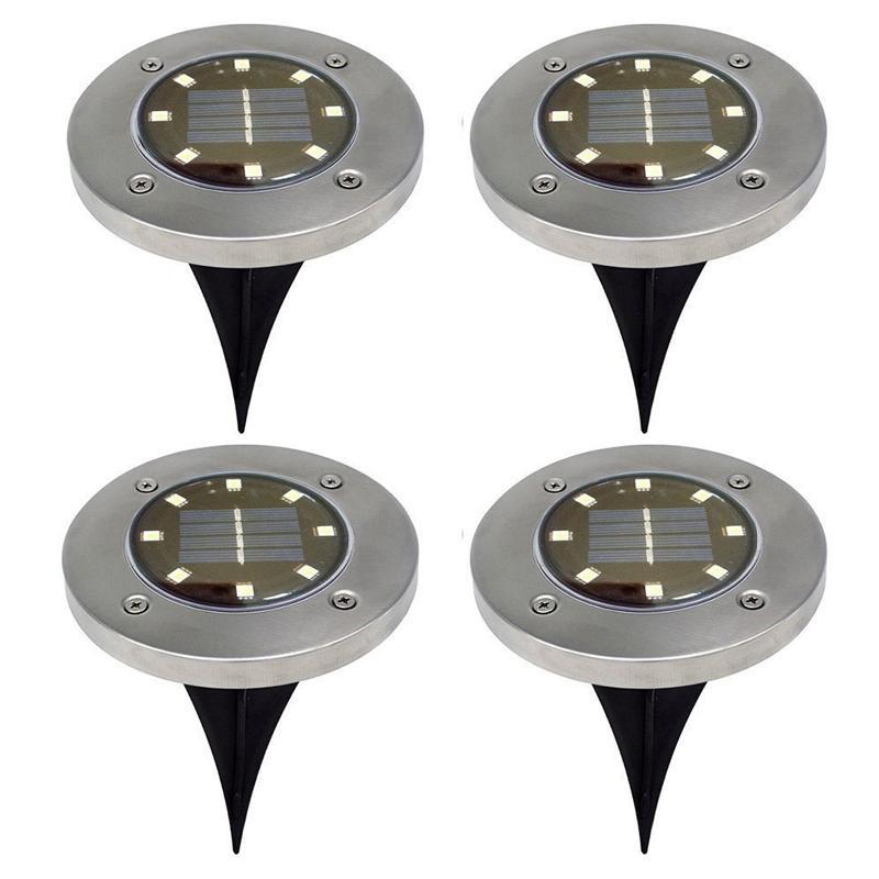 في الهواء الطلق الشمسية مدفونة ضوء 8 LED للماء حديقة فناء مسار الشمسية الطابق ضوء الحديقة ضوء تحت الأرض