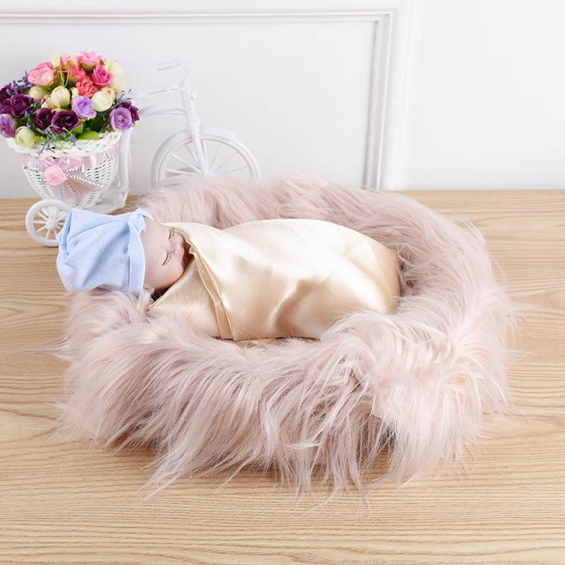 60*50cm Photography Photo Props Soft  Faux Fur Blanket Rug Newborn Baby Kit