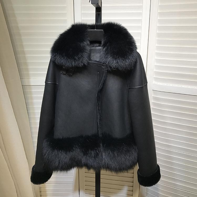 Natural Fur Coat Female Real Fox Fur Collar Jacket Women Winter Clothes 2020 Korean Vintage Wool Liner Double Faced Tops LW2139