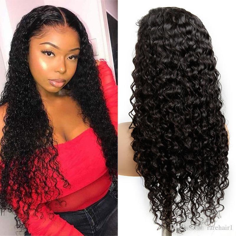 Peluca de pelo rizado humano Preplucked brasileña onda de agua de la peluca largo natural del pelo de Remy del frente del cordón 13x4 sin cola pelucas de pelo humano para las mujeres Negro