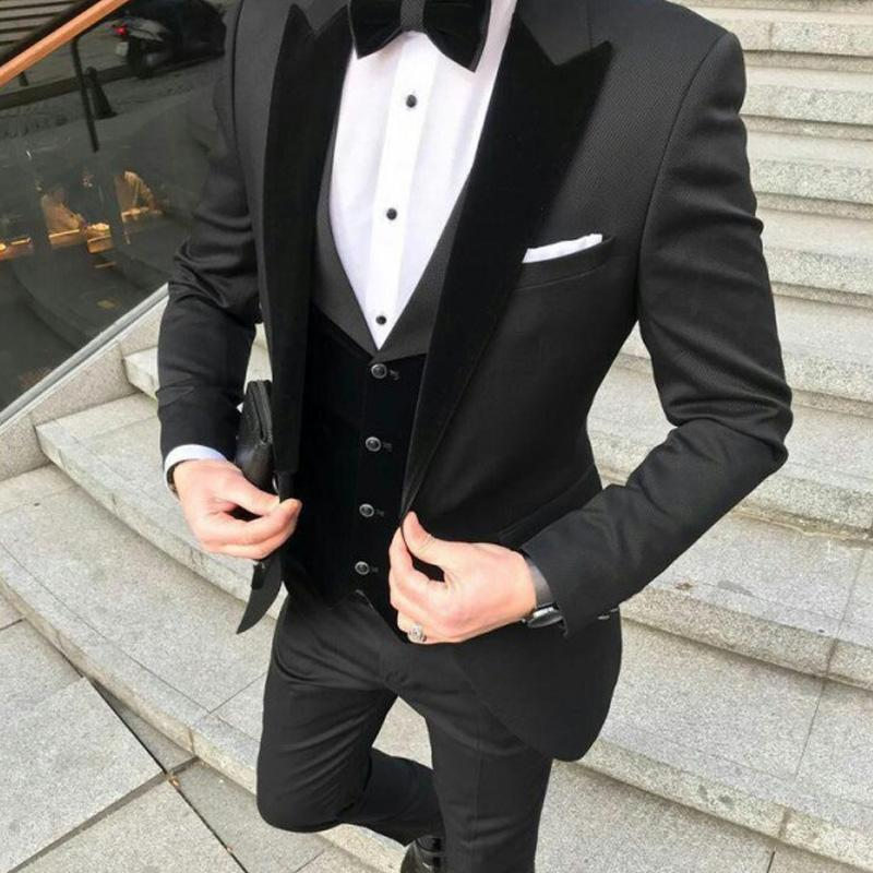 Blazer+Vest+Pant Mens Suit Slim Fit 3 Piece Velvet Wedding Suits Double Breasted Groom Tuxedos