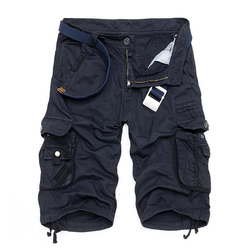 Camo militar bermudas de camuflaje del verano de 2017 hombres de los cortocircuitos del cargo algodón suelta táctico pantalones cortos sin cinturón MX190718