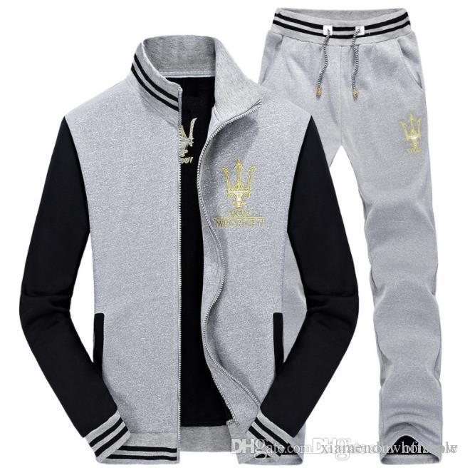 Maserati Tracksuits Homens Homens Roupa Suit Casual Esportes 2pcs Sets Jacket Pants Outfits