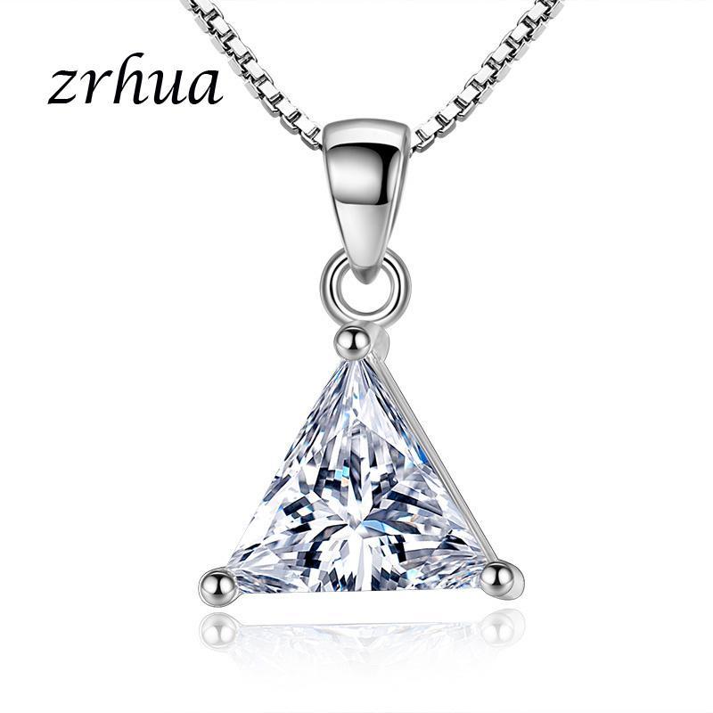 ZRHUA высокое качество стерлингового серебра 925 пробы ожерелья подвески для женщин мода Леди кубический цирконий ювелирные изделия аксессуары продвижение