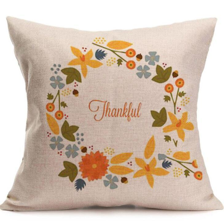 Happy Thanksgiving Day Pillow Covers Fall Decor Cotton Linen Give Thanks Sofa Throw Pillow Case Home Car Cushion Covers 45*45cm EEA433
