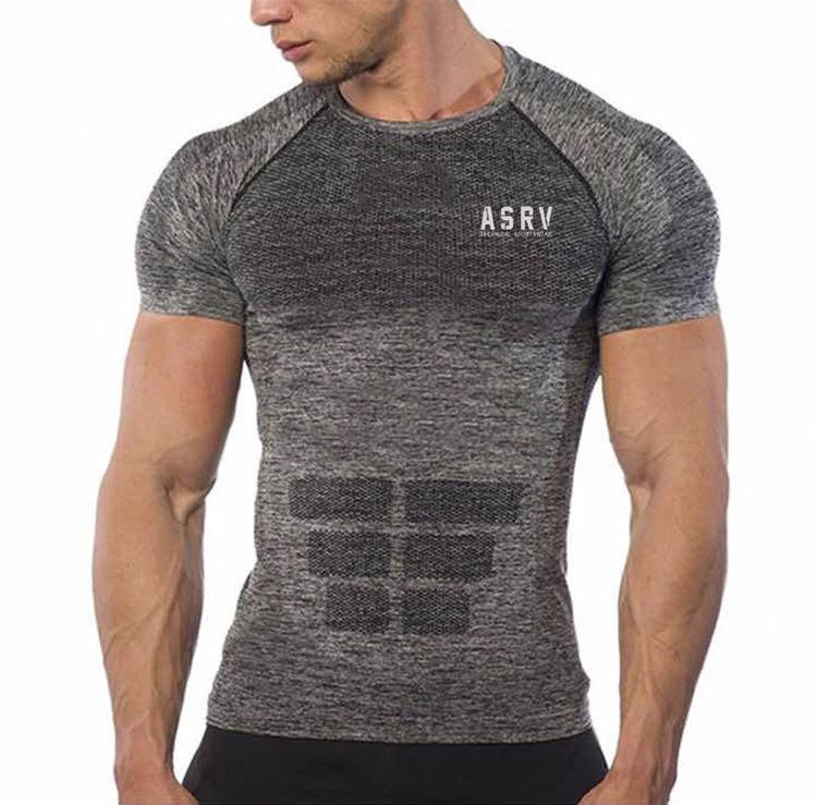 Men's Casual Sports Short Sleeve Slim T-Shirts For Male New Print Fitness Jogging Workout Tops Tees Shirts Singlests