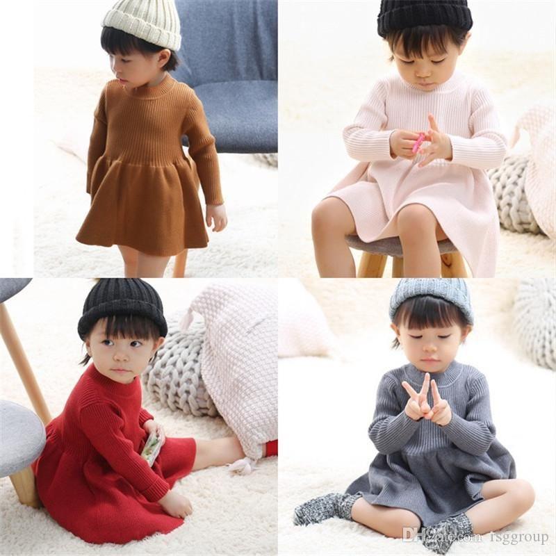 Ins Outono inverno meninas de lã malha pulôver camisola bebê swater vestidos de queda festa de casamento roupas outwears
