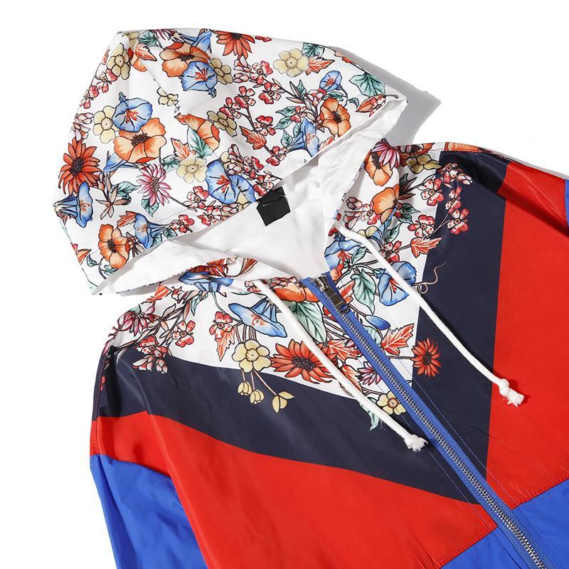 مصمم الرجال النساء ماركة الرياح معطف الريح الفاخرة الأزهار أزرق أصفر اللون مصمم الأزياء بارد الرجال النساء مصدات الرياح الحجم من m إلى 2xl