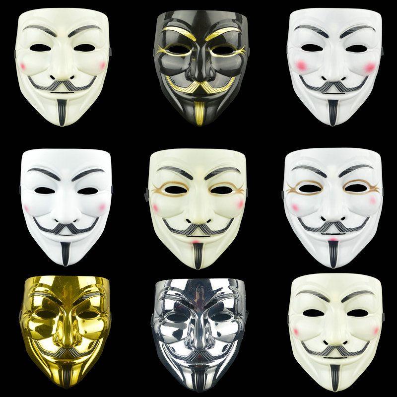 100PCS Vendetta Mask Halloween Skulll Mask Fancy Dress Costume V for Vendetta Anonymous Scary Cosplay Masks White Yellow Black 5 Colors