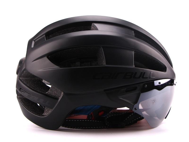 Ultra-light 235g Goggles Cycling Helmet Road Mountain MTB Bicycle Helmet In-mold Bike Helmet With Sun Visor Helmet M54-58cm (5)