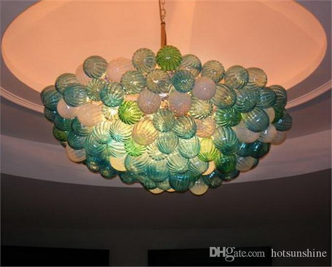 110 V 120 V 220 V 240 V soplado burbuja lámpara de cristal de lujo 100% hecho a mano Chihuly Euro Style Colgante accesorio de la lámpara