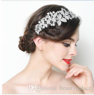 New Wedding Bridal Crystal Rhinestone Silver Crown FrontLet Headbands Tiara Headpiece Hair Accessories Prom Jewelry Retail