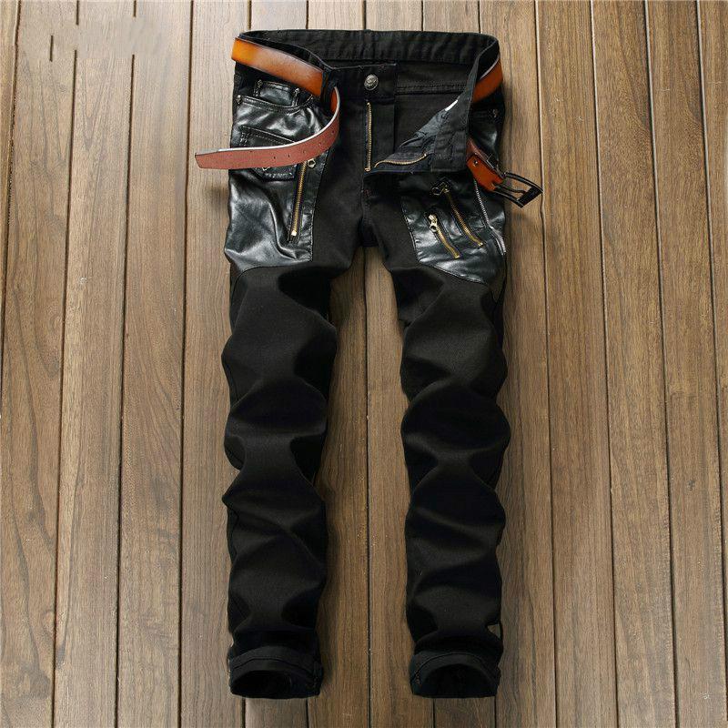Мужские джинсы оригинальный дизайн хип-хоп 2021 шить тонкий черный прямые мужчины мужская мода