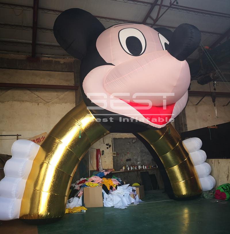 Stock Decorated inflatable cartoon arch for children's party themed events hot sell inflatable entrance mouse arch gate
