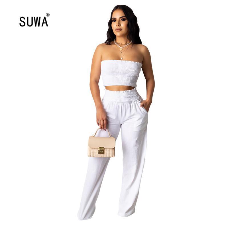 Pure Blanc Piece Set Sale Hot Summer Casual femmes sans manches, bretelles Brassière et jambe large Pantalon Survêtement Tenues T200605