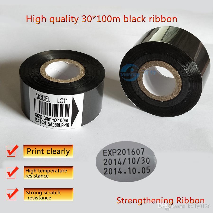 Бесплатная доставка 30 мм * 100 м. Высококачественная Черная лента для печати даты, кодирующая машина, горячее тиснение, Термотрансферная лента для упаковки мачи