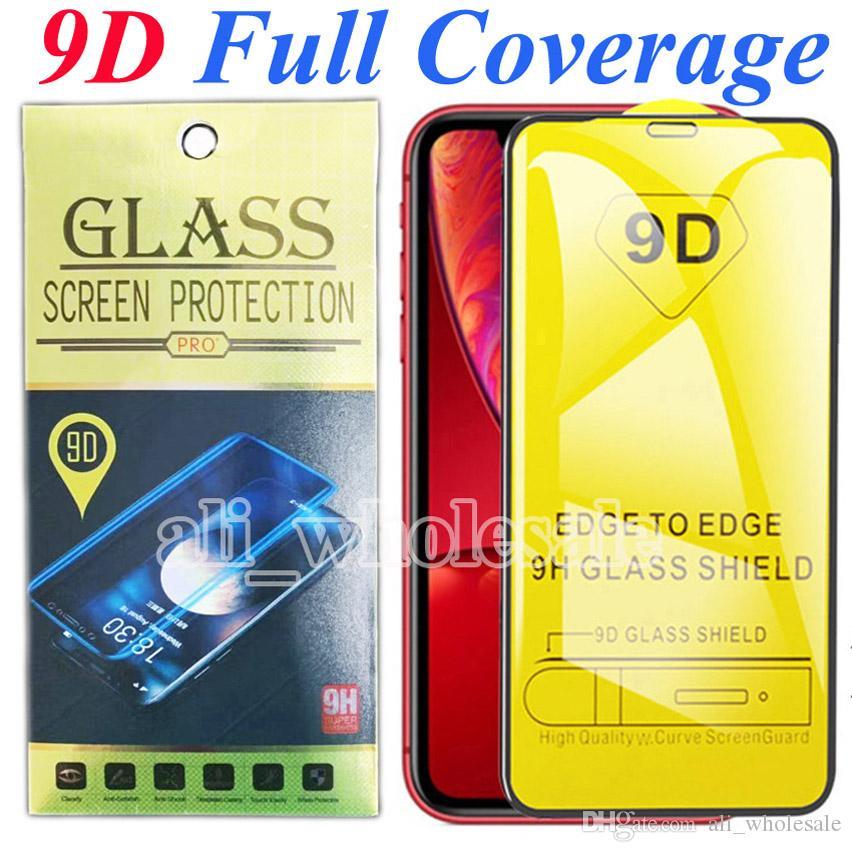 9D de cobertura total para el iPhone 11 protector de la pantalla de vidrio templado para el iPhone x x XR 11 Pro máximo 8 7 6s Plus Lg Stylo 5 4 Pixel XL, paquete al por menor
