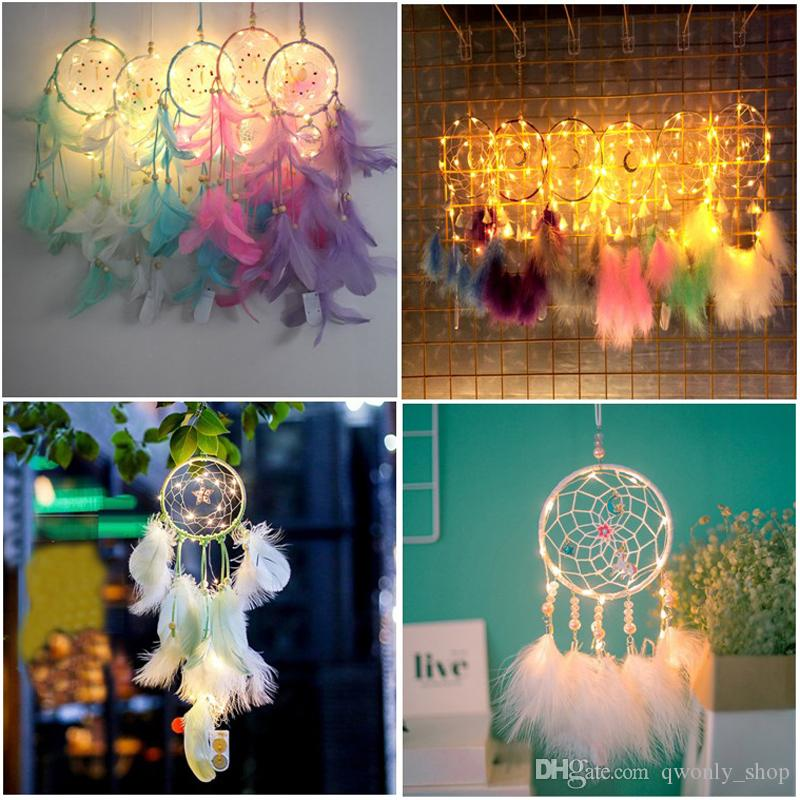 Dream Catcher Feather Handmade Dreamcatcher LED String Light Wind Chime Home Bedside Wall Hanging Decoration Novelty Items 16colors