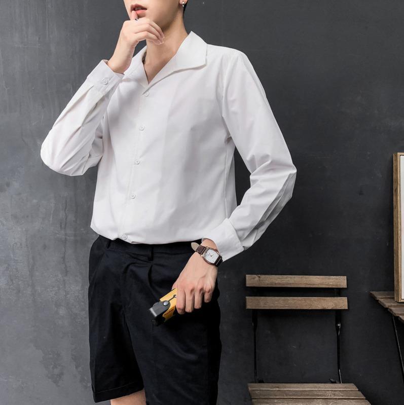 Camicie casual da uomo 2021 Primavera e autunno Gioventù Hit Colour Shirt Single-Breeded Camicia a maniche lunghe Moda M-2XL