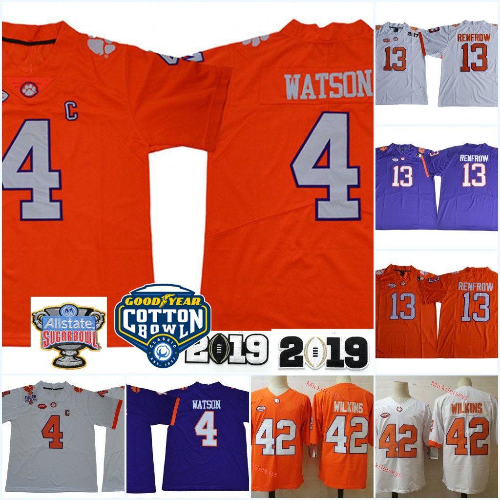 Mens NCAA Clemson Tigers DeShaun Watson Football Jersey Stitched 13 Hunter Renfrow 42 Christian Wilkins Clemson Tigers Jersey S-3XL