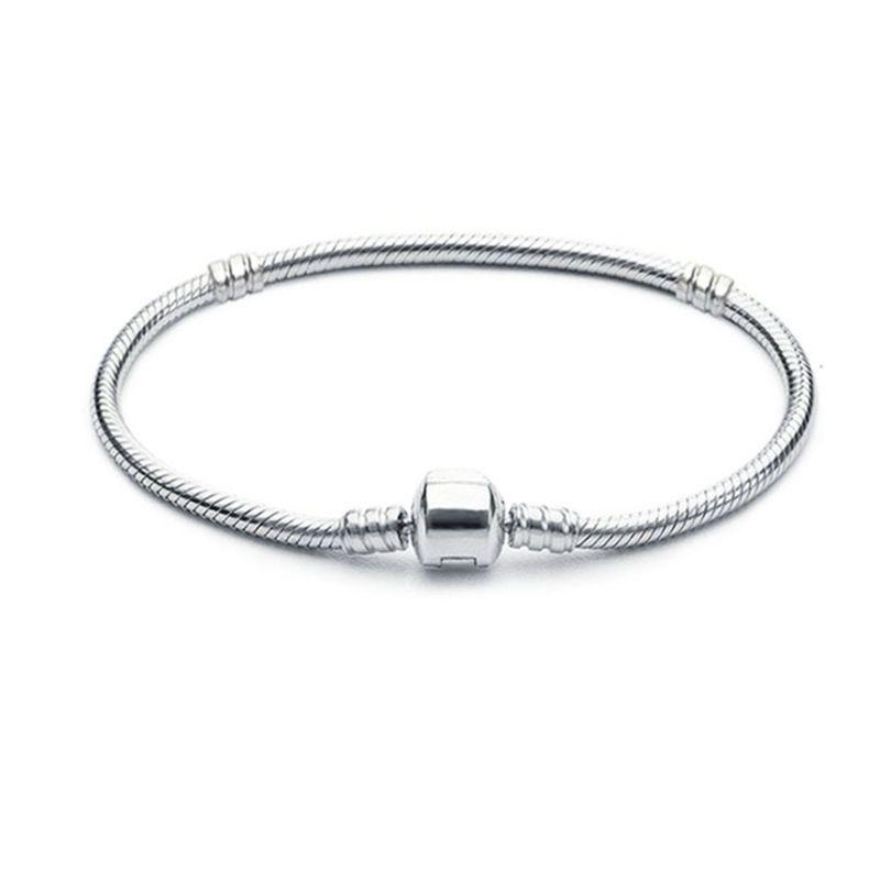 1pcs Drop Shipping Braccialetti placcati in argento Placcato donna serpente catena di fascino perline per Bracciale Braccialetto Pandora Bracciale regalo per bambini