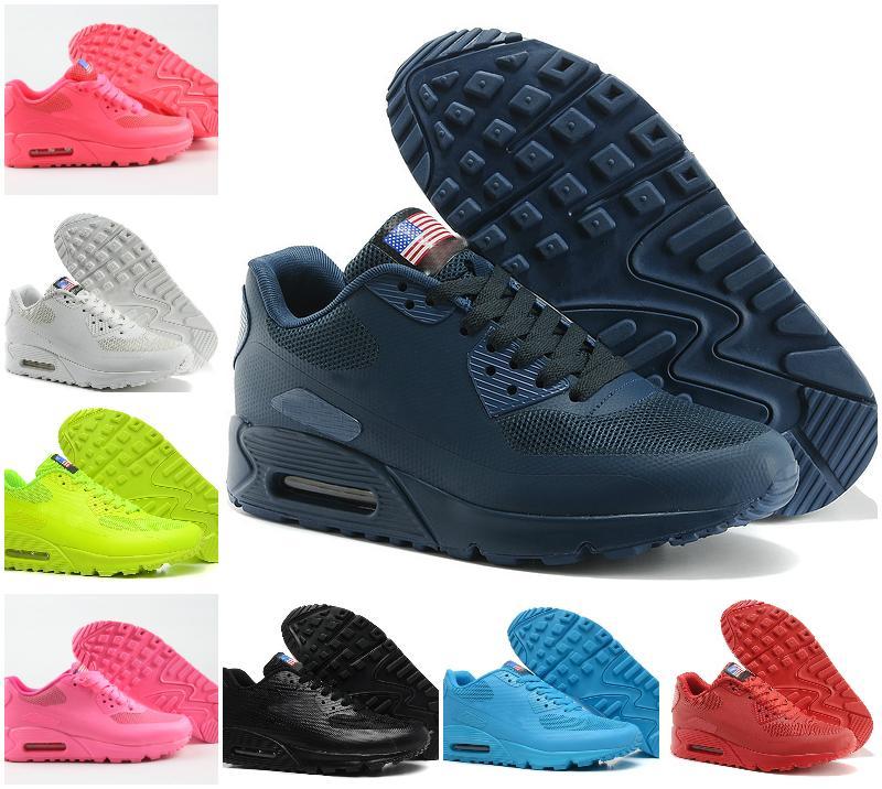 Haute Qualité 2020 MENS Original 90 HYP PRM QS chaussures de sport homme INDÉPENDANCE Day Running Shoes Casual Air90 Zapatillas USA Flag Taille 36-46