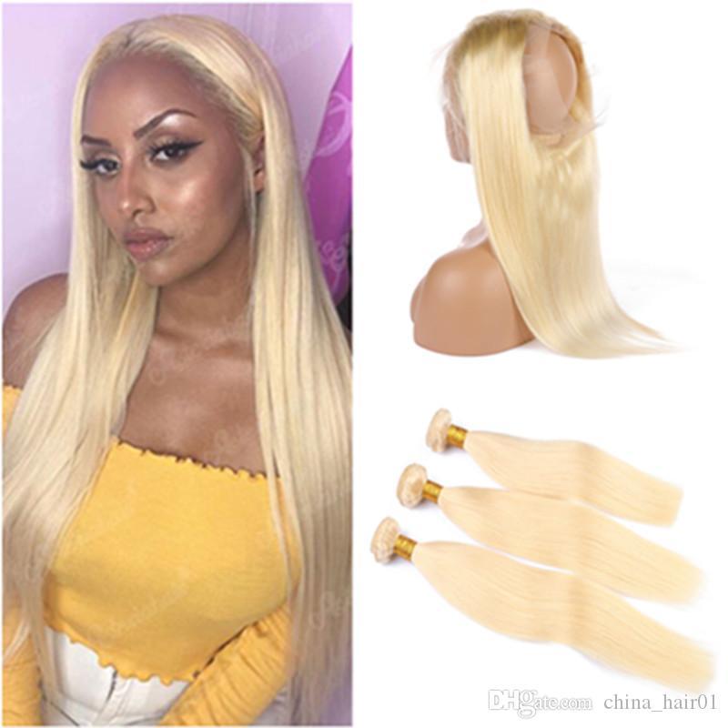 """Russe Blonde cheveux humains 3Bundles et 360 Frontal # 613 Bleach Blonde Droit Virgin Cheveux Tissages avec 360 de dentelle Fermeture 22.5x4x2"""""""