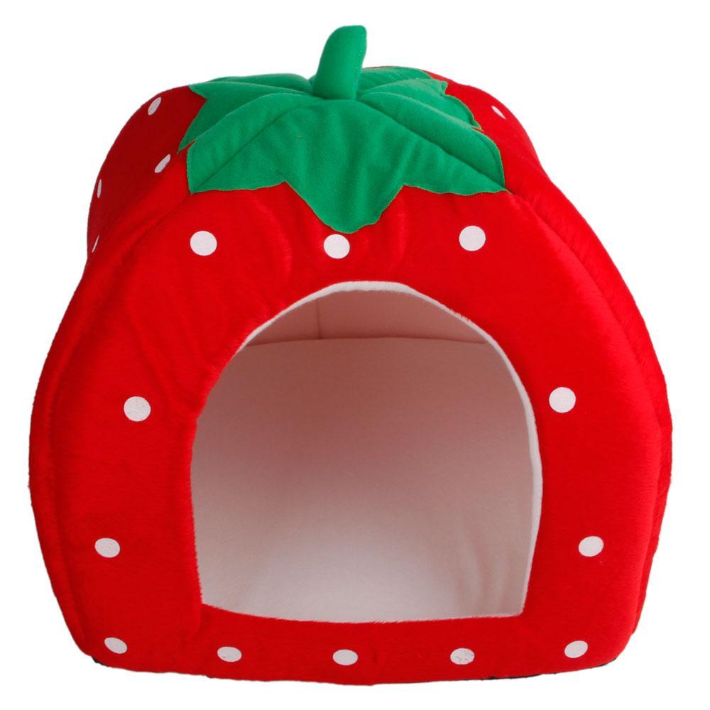 Algodón suave lindo estilo de la fresa multiuso Mascotas Perro Gato Casa Nido Yurt talla L rojo brillante