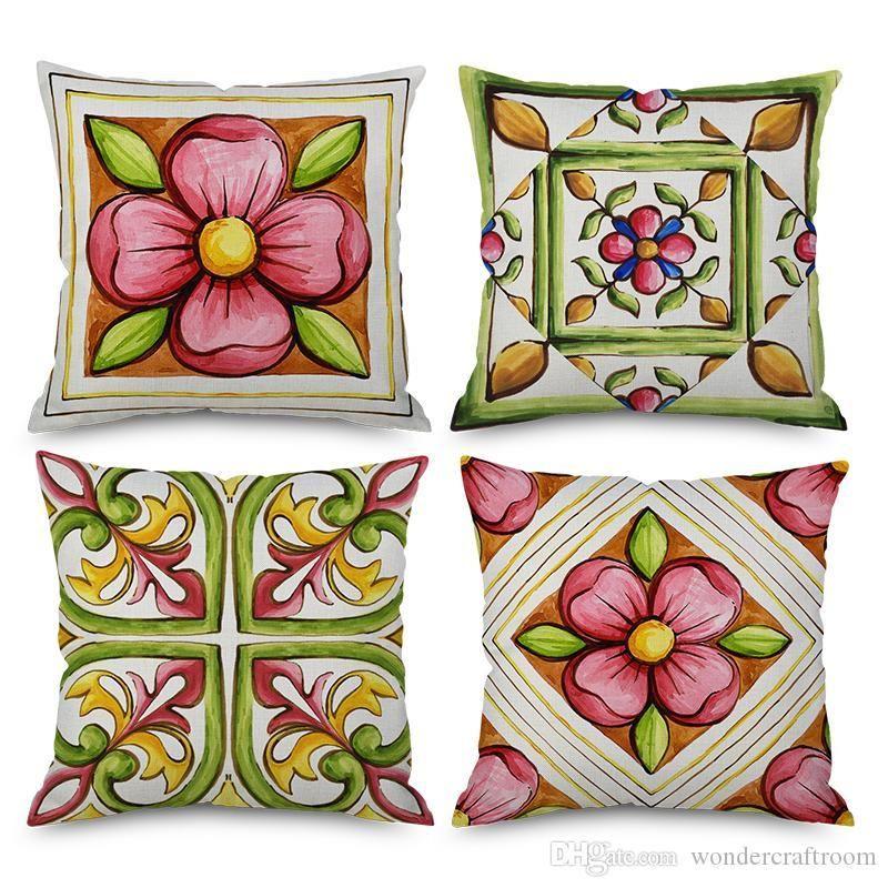 Geométrico floral Mantas cubiertas del amortiguador de acuarela Pintura flor de la flor Cojín Funda de almohada de algodón de lino decorativo