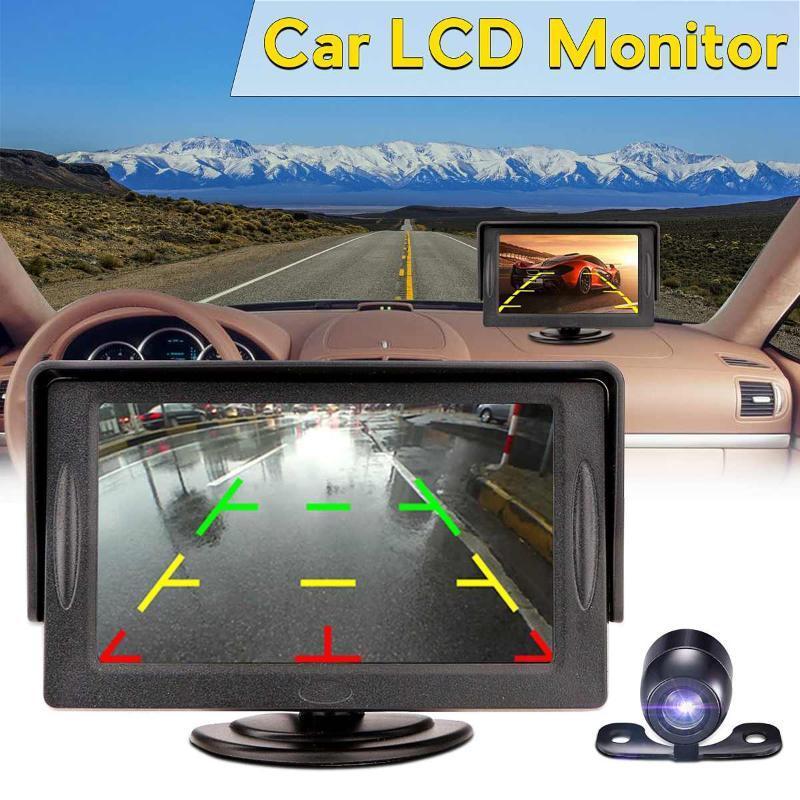 4.3 سيارة مرآة الرؤية الخلفية رصد موقف السيارات نظام + LED للرؤية الليلية النسخ الاحتياطي كاميرا عكس LCD سيارة كاميرا الرؤية الخلفية