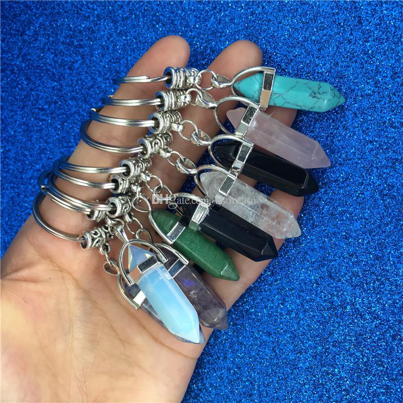 Chakra Hexagone prisme naturel pierre Keychain Porte-clés Sac à main Bijoux Fashion Hangs Goutte cadeau navire 340041