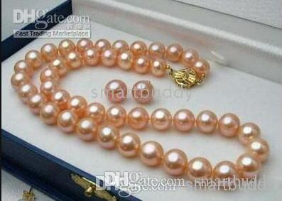 """100% GENUINE NATURAL 20"""" 8-9MM SOUTH SEA PINK PEARL NECKLACE RARRING"""