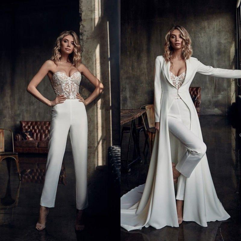 보헤미안 2020 Jumpsuits 웨딩 드레스 재킷 연인 레이스 Appliqued 신부 가운 저렴한 사용자 정의 만든 바지 웨딩 드레스