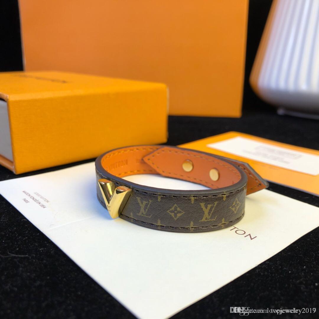 Роскошный стиль натуральная кожа браслеты с золотом V дизайн для цветочного узора браслет с фирменным логотипом новая мода ювелирные изделия длина 23 см