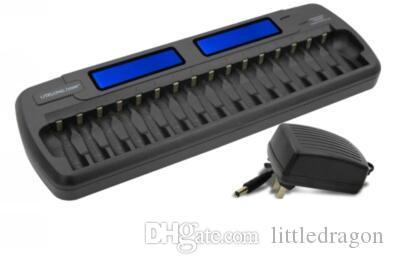 무료 배송 16 베이 하이테크 AA AAA NiMH NiCD 고속 충전기 스마트 Rechargable 배터리 충전기 LCD 디스플레이