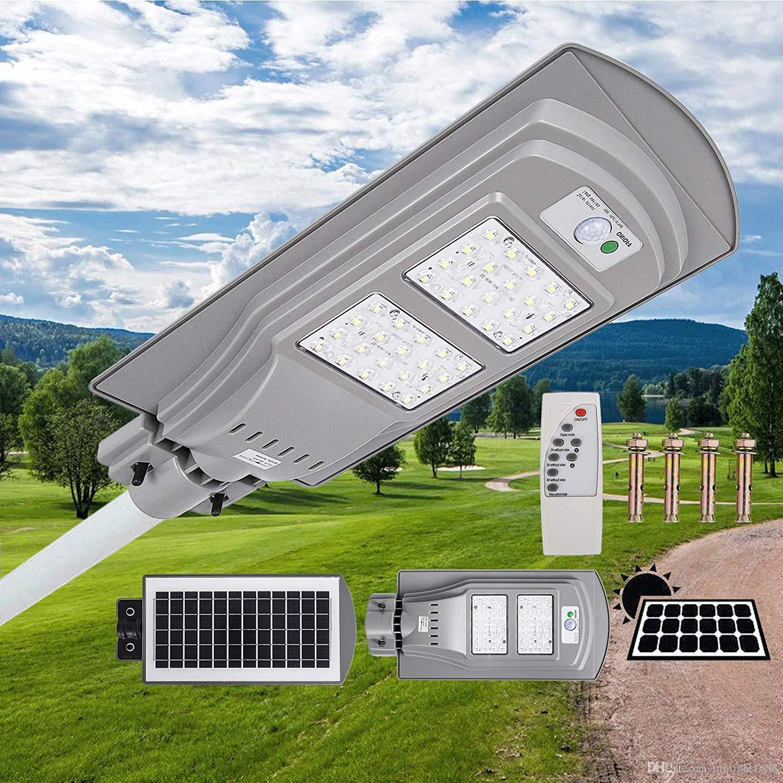 Umlight1688 20/40/60 W Solarbetriebene LED-Straßenleuchte All-in-1-Zeitschaltuhr Wasserdichte IP67-Wandleuchte für den Garten im Freien