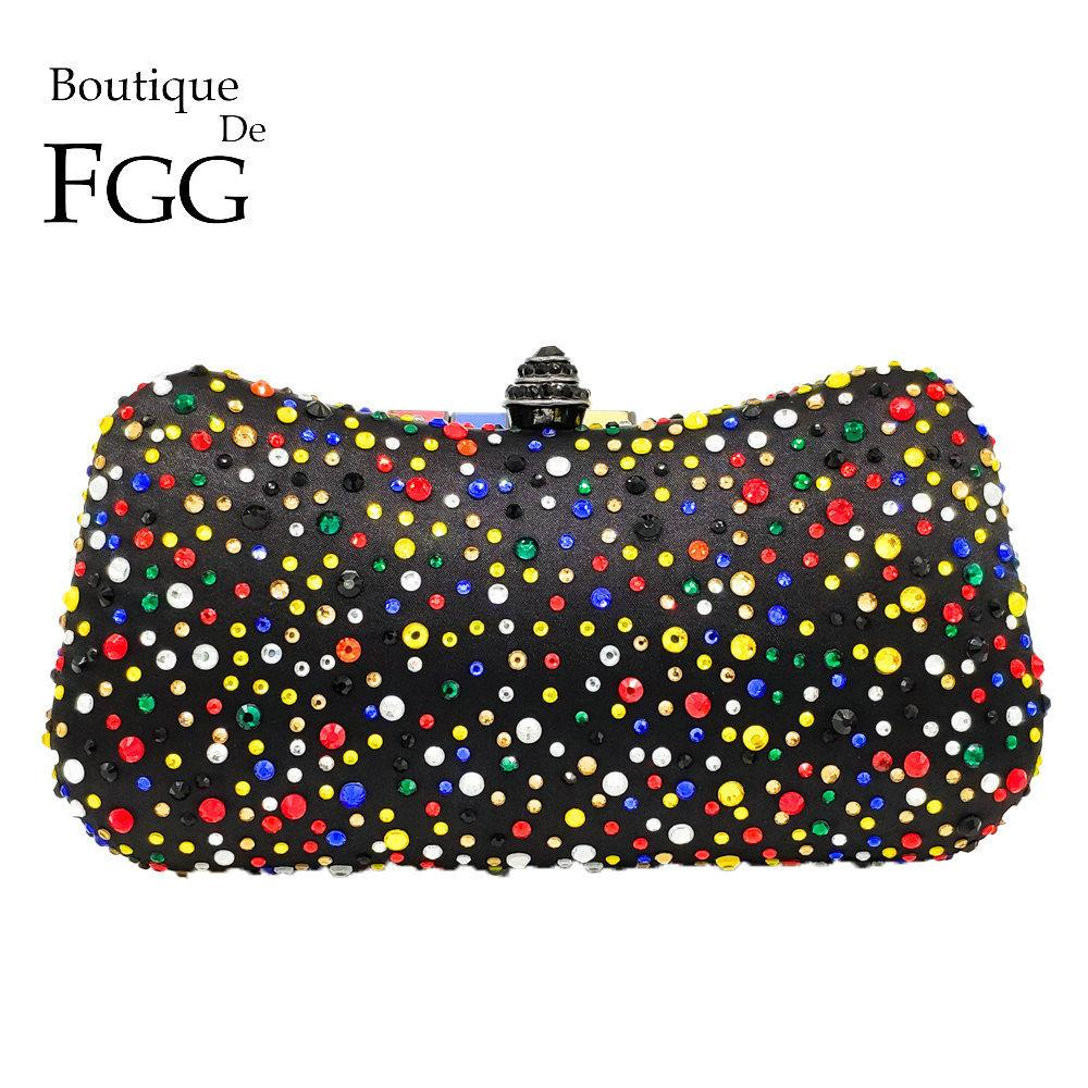 Boutique De Fgg Multicolored Women Black Satin Crystal Evening Clutch Bags Hard Case Metal Chain Shoulder Handbag Purse Y190626