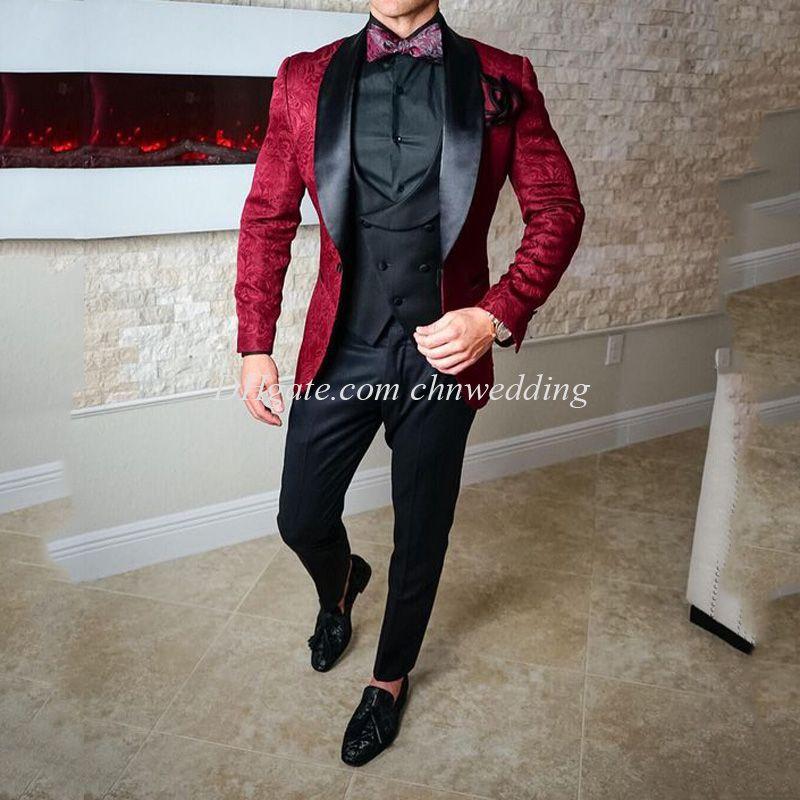 Burgonya Desen Erkekler Suits Düğün Smokin Slim Fit Damat Giyim (Ceket + Pantolon + Vest) Damat Suits Sağdıç Kostüm Homme