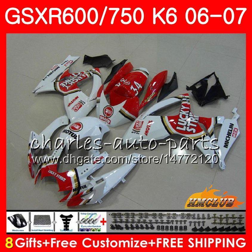 Cuerpo para Suzuki GSX R750 GSX R600 GSXR 600 750 GSXR750 06-07 8HC.33 GSXR-750 GSX-R600 K6 GSXR600 06 07 2006 2007 Kit de carenado Strike Lucky