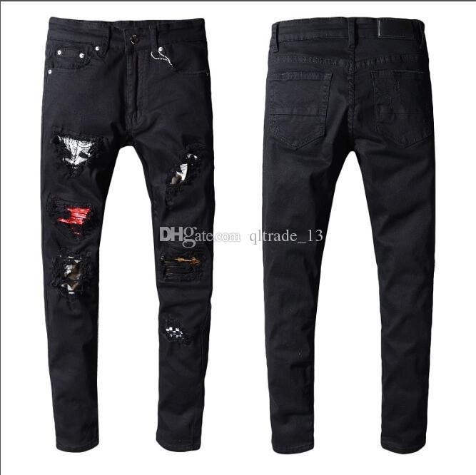 Jeans Patchwork preto buraco magro magro ajuste calças de brim Distrressed Rasgado estilo americano homens demin calças compridas