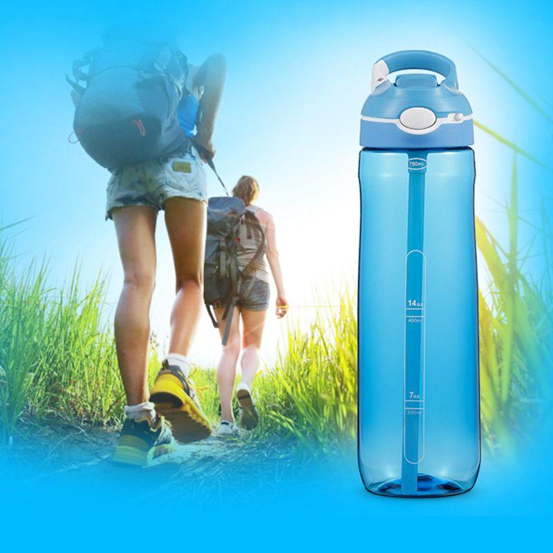 750 мл 25 унций Спортивная бутылка воды с соломой пищевые пластиковые герметичные бутылки большой емкости открытый спорт путешествия кемпинг бутылка DBC DH1128